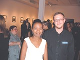 Left, featured artist Sonny Wallace; at right, gallery owner Cryselle Stewart and manager Warren Smith