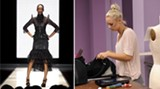 Left: From April Johnston's SCAD senior collection. At right, hard at work on 'Project Runway.'
