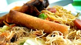 Lumpia is an egg roll-like bundle stuffed with chicken, shrimp, vegetables, or a combination