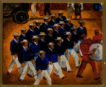 Malvin Gray Johnson (American, 1896-1934), Elks Marching, 1934. Oil on canvas. On loan from the Amistad Research Center, Tulane University, New Orleans.