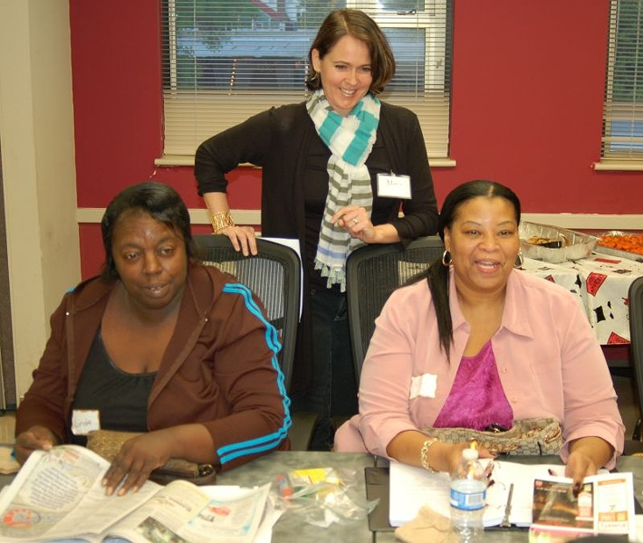 Maria Malcolm, Ph.D. (center), talks with participants Linda Brown (left) and Tiffany Brown (right) during the first session of the CRI Life Enhancement Program in Savannah. Maria is a member of the Core Team that includes health professionals in integrative health, nutrition, exercise, and sense of purpose.