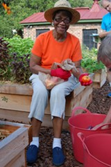 Mrs. Gloria Brown of Second African Baptist Church is a regular volunteer at the CRI Healthy Garden at Trustees' Garden. She and other volunteers help harvest herbs and vegetables that are then shared with volunteers, organizations that provide food to low-income people in Savannah, and Pacci Italian Kitchen and Dept. 7 East restaurants that help support the garden.