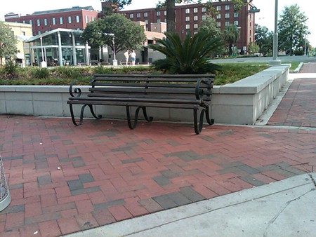 """One of the prop benches the """"CBGB"""" crew allegedly left behind in Ellis Square."""