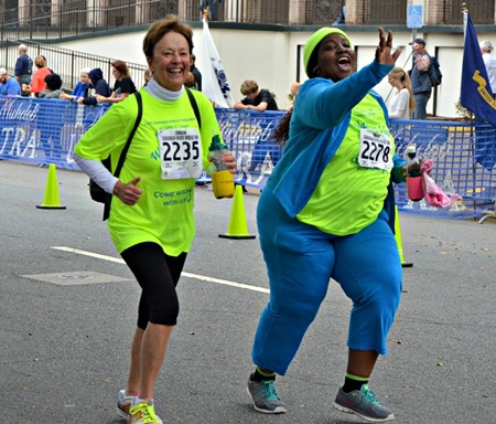 Sandy Haeger and Sharel Young crossed the finish line of the Savannah River Bridge Run together. They ran and walked the 5K as a duo to encourage each other to keep up their pace and complete the challenge that meant so much to them.