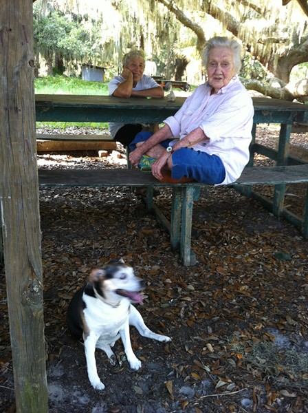 Sandy West in her element on Ossabaw Island; author Jane Fishman sits in the background. - PHOTO COURTESY JANE FISHMAN