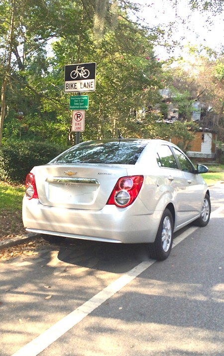 Seriously, don't park in bike lanes. Not cool, not cool at all.