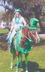 SHAMROCK IN FULL ST. PATRICK'S DAY REGALIA - Shamrock in full St. Patrick's Day regalia; March 17 is the horse's birthday - Shamrock in full St. Patrick's Day regalia; March 17 is the horse's birthday - courtesy Oetgen Ranch