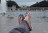 Sitting at the WWII Memorial in line with the Lincoln Memorial a few weeks ago. All national parks and monuments are still closed as of press time.
