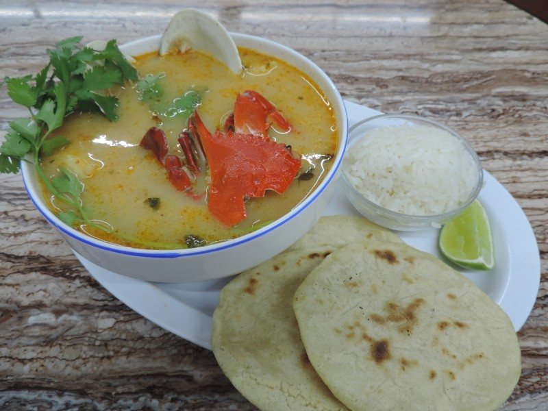 Sopa Marisco made w/ fresh seafood, served with rice, handmade corn tortillas and fresh lime!