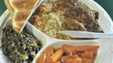 Tender pot roast with rice, carrots and collard greens