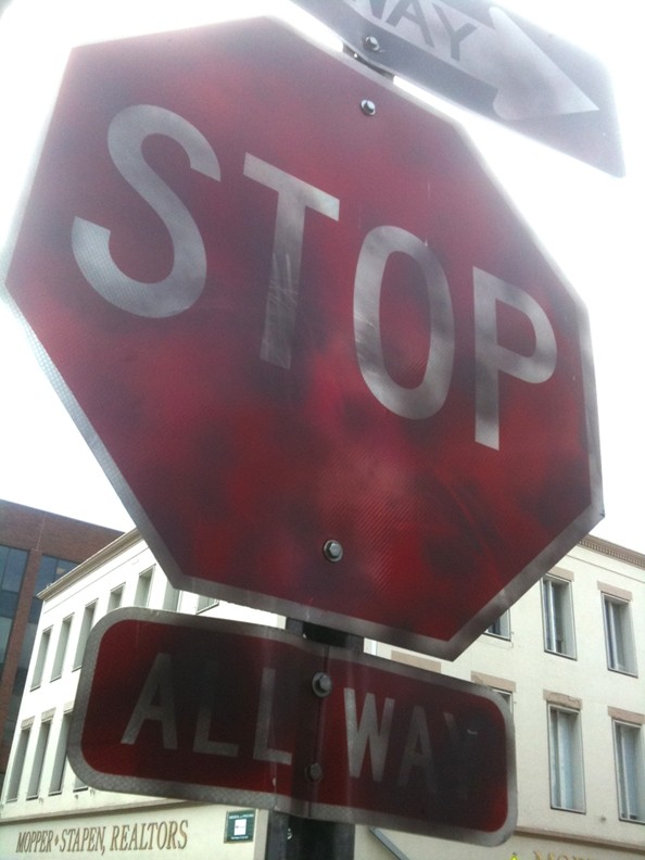 The allegedly defaced stop sign on Congress Street near The Lady and Sons.