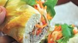 The Banh Mi sandwich at Saigon Flavors — Vietnamese BBQ pork on a baguette