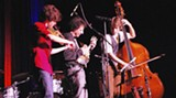 BILL DEYOUNG - The Big Trio onstage at the Morris Center: Alex Hargreaves, left, Mike Marshall and Paul Kowert