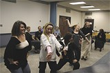 JIM MOREKIS - The 'Grisettes' rehearse in the Hellenic Center the week before starting rehearsals on the Lucas stage