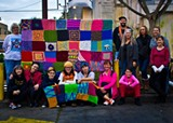 The knitting kninjas of the Green Truck yarnbomb, l to r: Sandi Postle, Kate Greene, Alice Johnston, Abraham Lebos, yours truly, Natasha Gaskill, Monique Belli, Liberty Lebos, Matt Hebermehl, Pat Cook, Katherine Sandoz, Star Kotowski and Michelle Mcrorie.