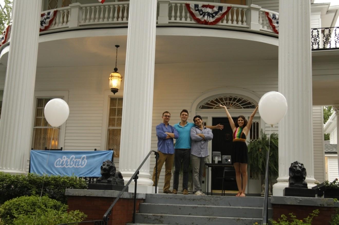 The local Airbnb team: David Burden, Justin Hauge, Brent Boone, and Caroline Millard on the porch at La Maison Blanche