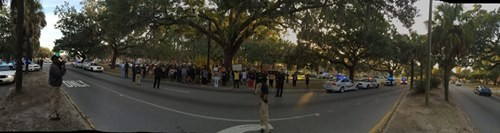 The protest on East Victory about 4 pm this afternoon - BRANDON BLATCHER
