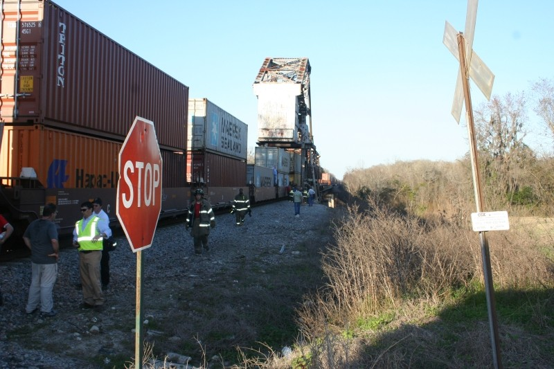 The scene immediately after the tragedy at the Doctortown Trestle which claimed the life of Sarah Jones. Photo courtesy of Wayne County Sheriff's Department.