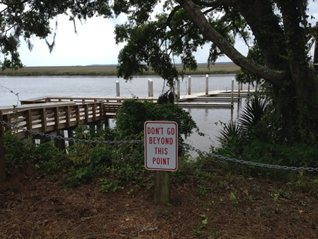 The view of the fishing pier from the bluff.