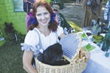 The winning picnic, 'Wizard of Oz'. Here we see Dorothy (Shelley Smith) and Toto (Lily). A nice touch was the poppy-lined yellow brick road leading to their picnic table.