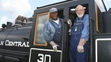 Tony Jackson, fireman, and Bill Robinson, engineer for a day