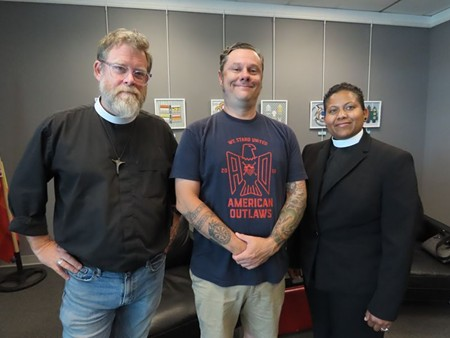 Father Chaney, Rev. Kevin Veitinger, and Pastor Candace Hardnett.