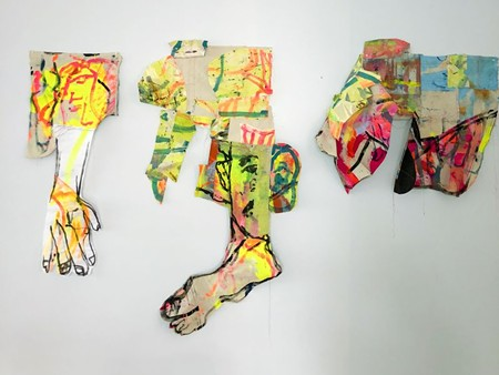 Sophie Funck's new body of work sees her painting and cutting out body parts to sew together.