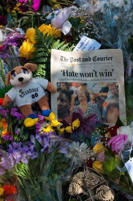 A tribute outside Emanuel AME Church this past weekend. - CAROLYN DIMMICK