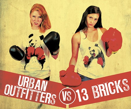 At left, Britt Scott rocks the UO look; at right Sophia Morekis reps the 13 Bricks version