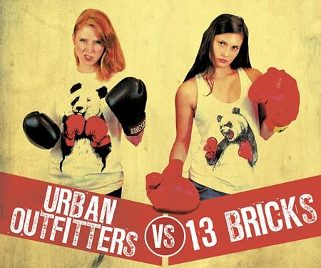 At left, Britt Scott rocks the UO look; at right Sophia Morekis reps the 13 Bricks version