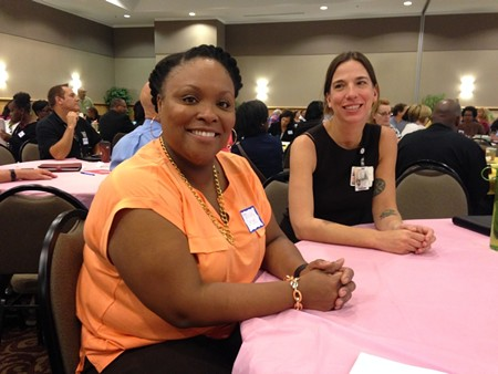 Talisha Crooks of Step Up Savannah and Jennifer Boryk Ratner of Mercer College of Medicine offered their input along with hundreds of citizens at the latest meeting of the Coastal Georgia Indicators Coalition.