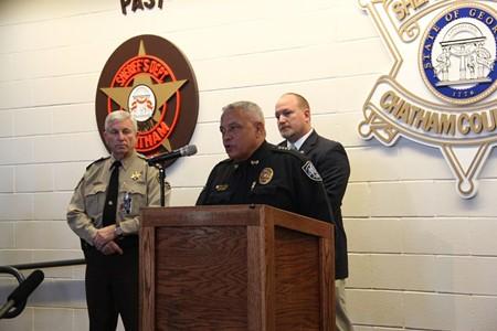 Savannah/Chatham Metro Police Chief Lumpkin at the podium