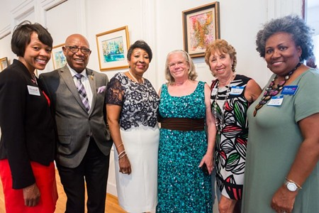 (L to R) Tammie Mosley, state representative Mickey Stephens, former mayor Edna Jackson, plus political mavens Jean McRae, Lynn Goodman and Helen Jordan came to the Beach Institute to support Georgia's WIN List. Photos by sean Thomas