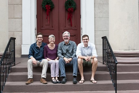 L to R: Trinity's first family (well, technically, they're the second to reside on Telfair Square): Coran Hendry, Ann Curry, Rev. Enoch Hendry and Walker Hendry. - PHOTO BY LYN BONHAM