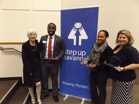 R to L: Step Up Savannah Executive Director Suzanne Donovan with last year's award winners: Project Inspire Executive Director Rashamond Lee Torrance, Jerrica Edmonds of International Paper and Andrea Epting, founder of Heads Up Guidance Services.