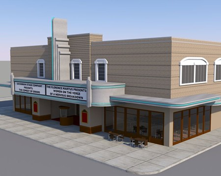 A new grand entrance could reorient the building towards Bull Street, and commercial tenants could flank this entry, as with the Fox Theatre in Atlanta. - RENDERING BY JASON COMBS