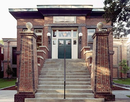 The Carnegie Library on Henry Street founded in 1906 by a group of black businessmen was Savannah's first public library and the city's only example of Prairie School-style architecture.
