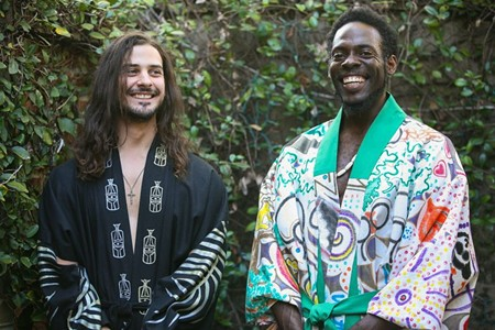 Joe Harlan (l.) and Tim Baker model handprinted kimonos designed by artist Cindy Male. - PHOTO BY JON WAITS