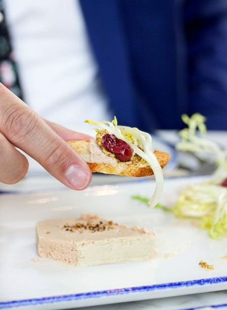 Duck liver mousse served with picked grapes and whole grain mustard