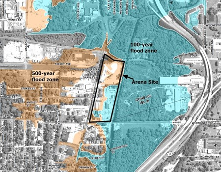 FEMA flood map with 100 and 500-year flood areas and the arena outlined in black. Source: FEMA
