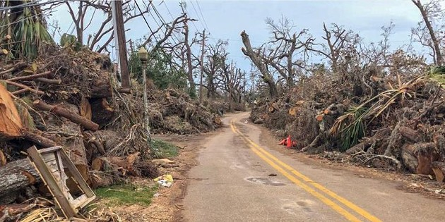 The same spot on Cove Road after Hurricane Michael