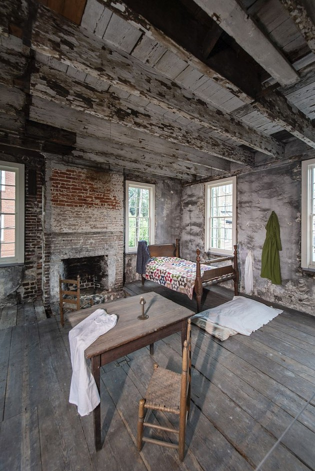 The upstairs bedroom in the slave quarters.