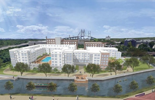 Rendering of the proposed apartment complex, from the Gunn Meyerhoff Shay website