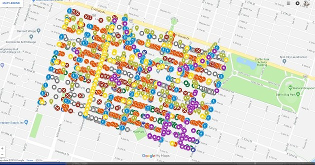 A screenshot showing the remarkable density and variety of the citizen-spotted items needing improvement — over 2,000 total discovered during the six-week canvassing period.