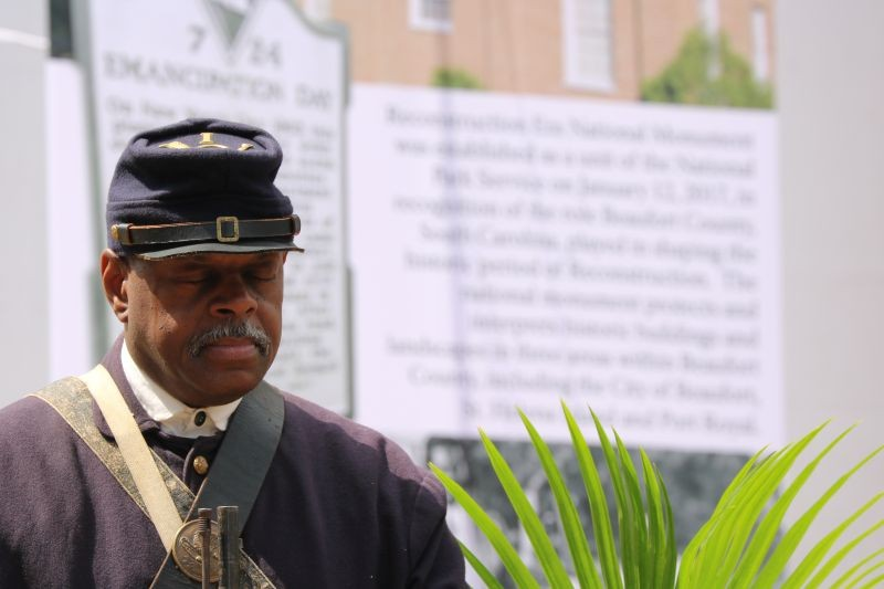 A living historian represents the thousands of African Americans who enlisted and served around Beaufort during and after the Civil War. - PHOTO BY NPS
