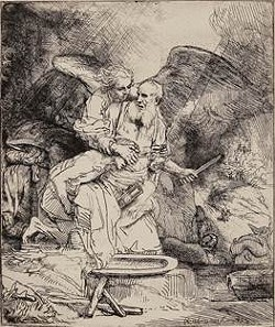 Abraham's Sacrifice, 1655 - B. 35, I/I (White & Boon only state); H. 283 - Etching on laid paper with pen and ink ruled lines - 6 1/8 x 5 ¼ in.