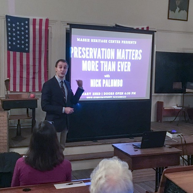 Nick Palumbo at last week's talk at the Massie Heritage Center.