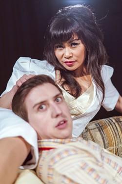 The Nurse (Cecilia Tran Arango) and The College Boy (Brandan Howell). - PHOTO BY ARDSLEY PARK PRODUCTIONS