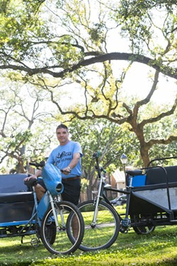 Rusty Browne with his oldest Pedicab, and one of his newest - PHOTO BY GEOFF L. JOHNSON