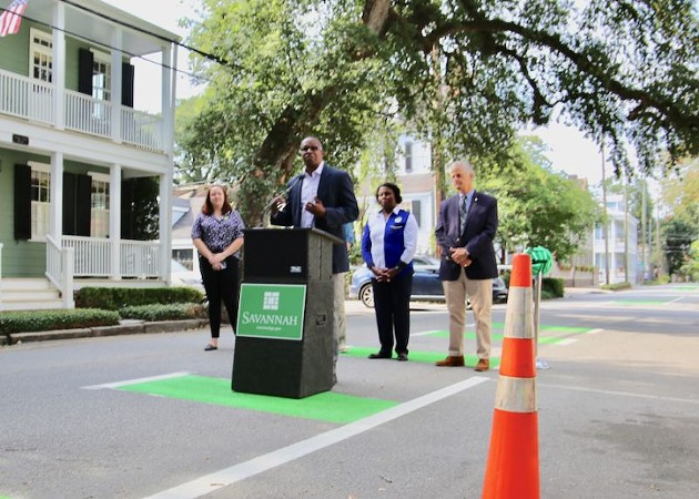 At a July 31 ribbon-cutting ceremony, City of Savannah Mobility and Parking Services Director Sean Brandon said the newly greened bike lane is part of the City's effort offer more transportation options.